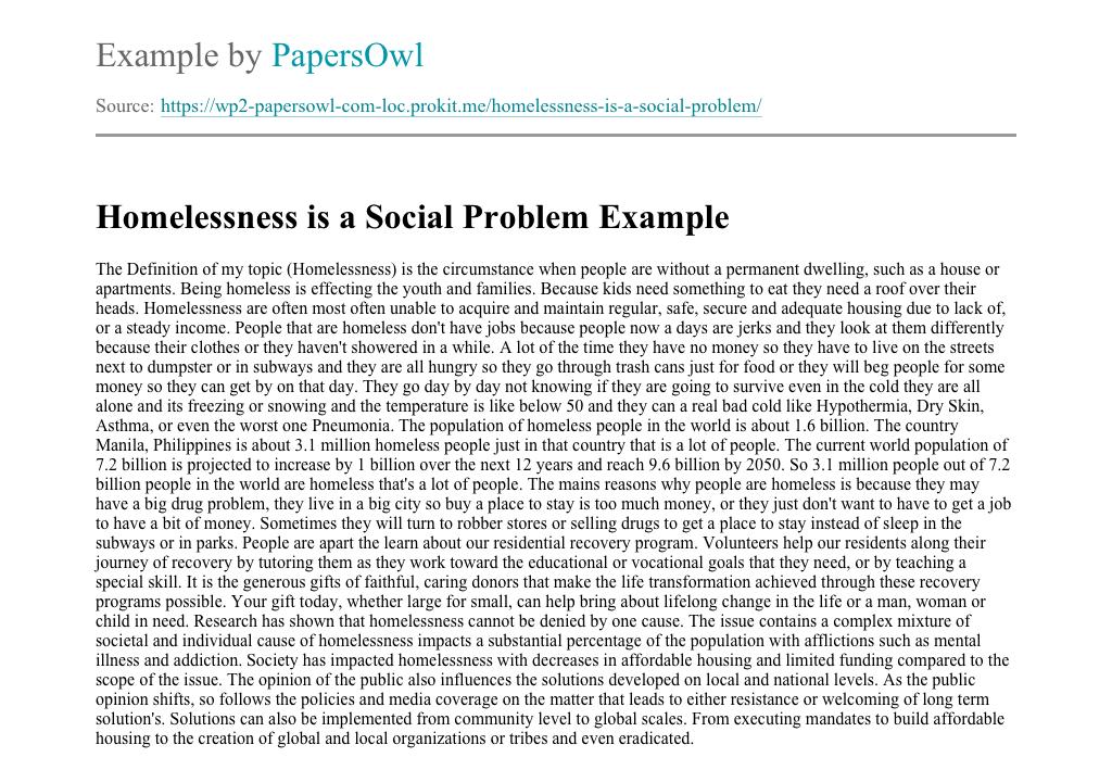 Social problem of homelessness essay dominant theme pf puritan literature essay