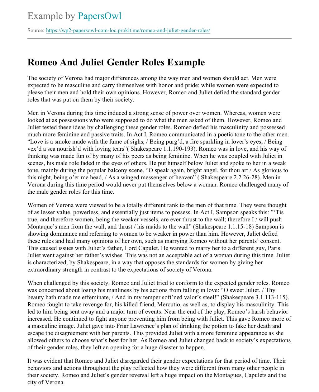 romeo and juliet gender essay