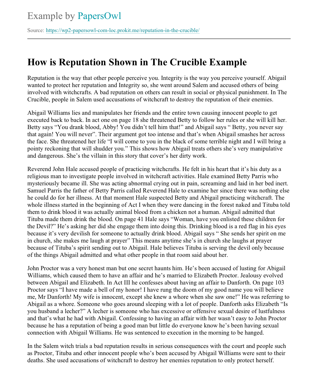 Crucible thesis reputation annotation paper