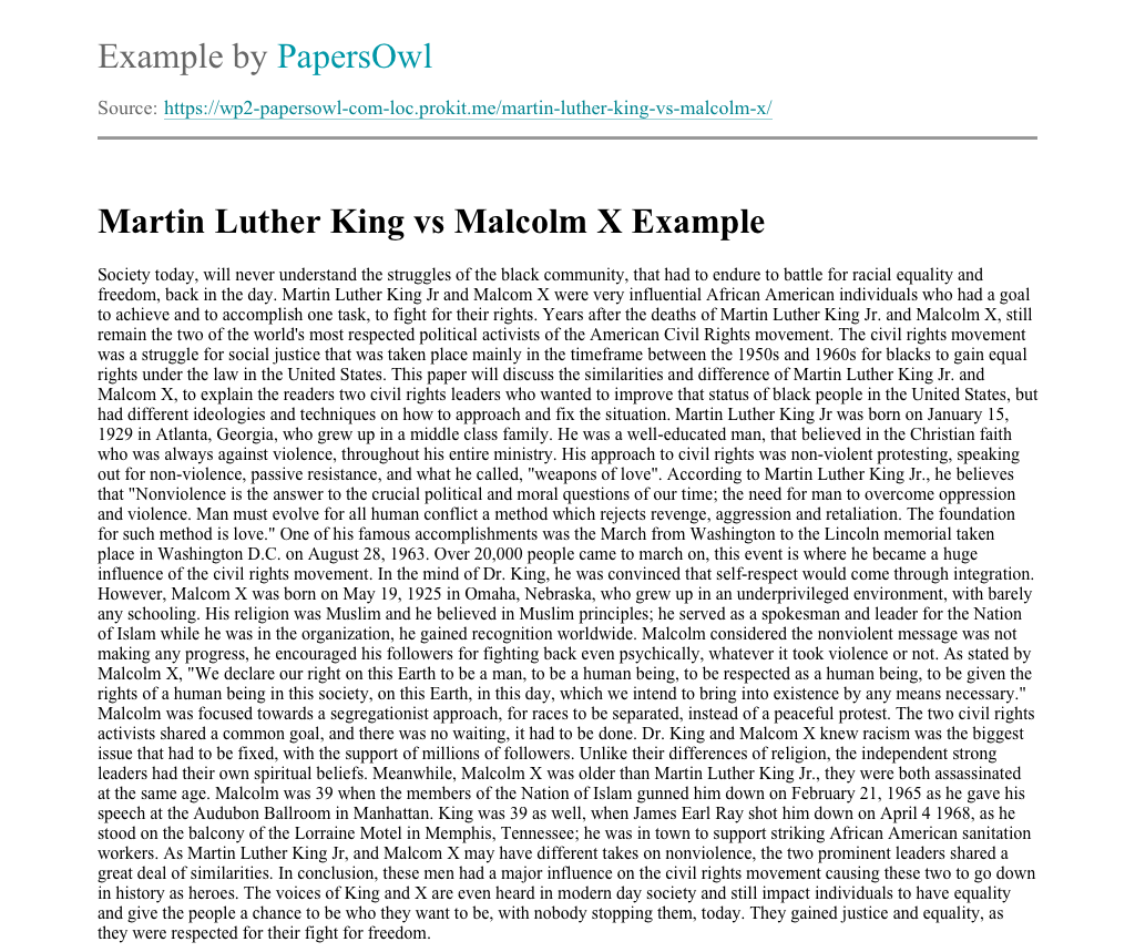 martin luther king and malcolm x comparison essay