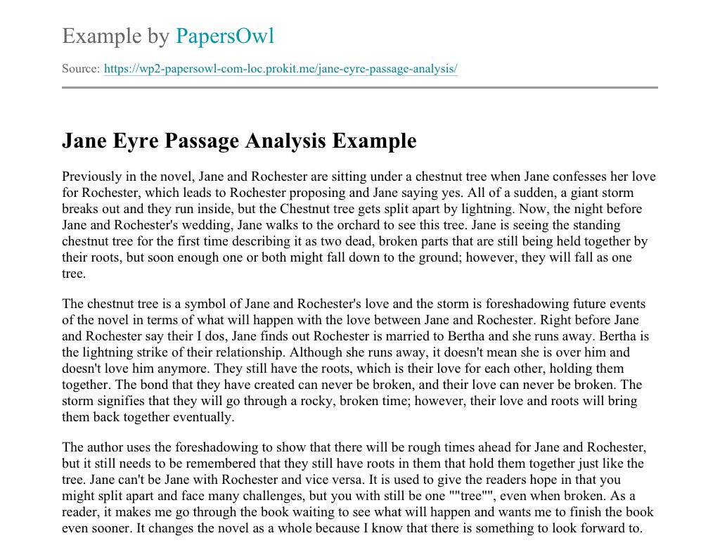 Jane Eyre Passage Analysis - Free Essay Example ...