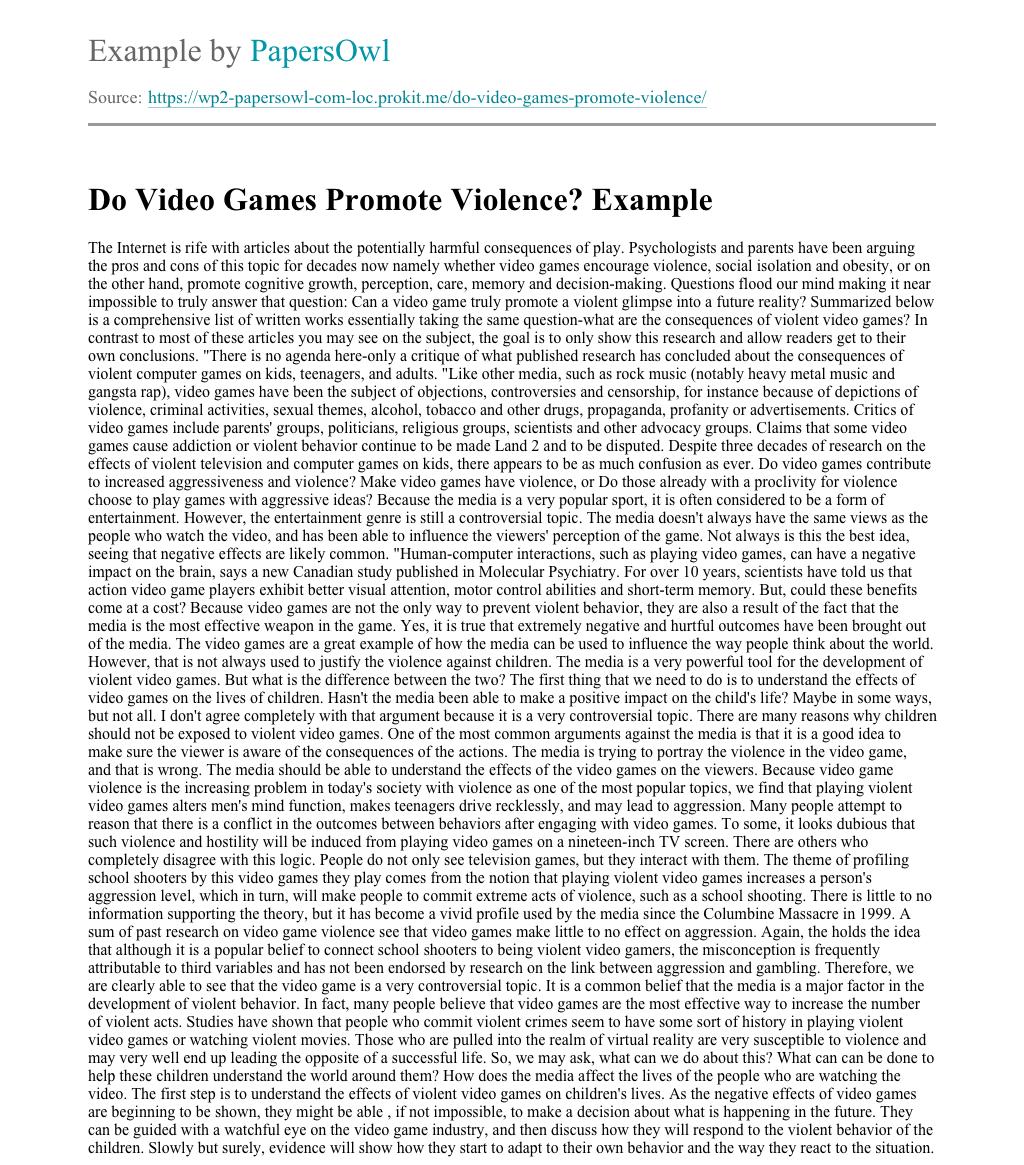 Do video games cause violence essay diesel enige mechanic resume