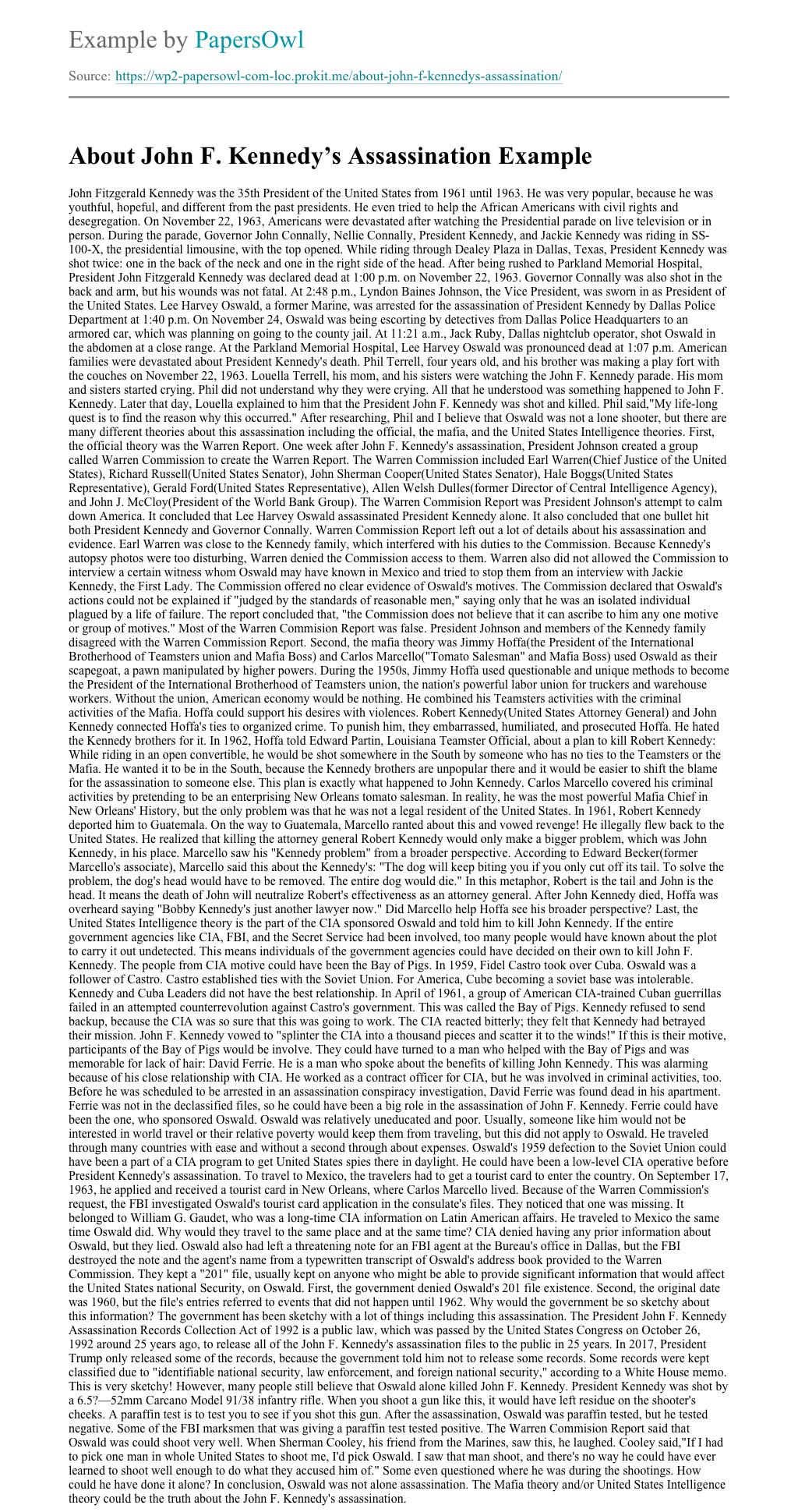 essay on jfk conspiracy