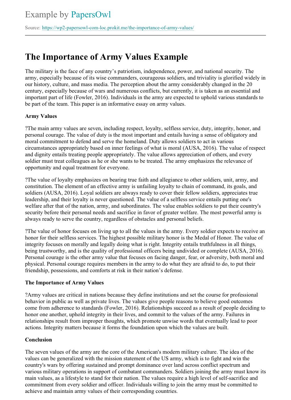 army values respect essay